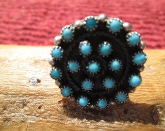 Vintage Petit Point Turquoise and Sterling Silver Ring Size 6.75