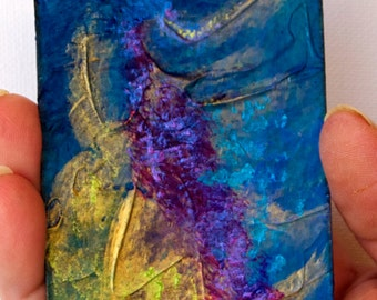 Artist Trading Card.ACEO Card. Original Mixed Media. Seabed abstract. Miniature Art ACEO. Painting original.ACEO original.Limited Edition