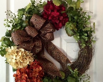 FALL WREATH, Hydrangea Wreath, Spring Wreath, Summer Wreath,Thanksgiving Wreath, Harvest Wreath,Hydrangeas Wreath,Front Door Wreath,Boxwood