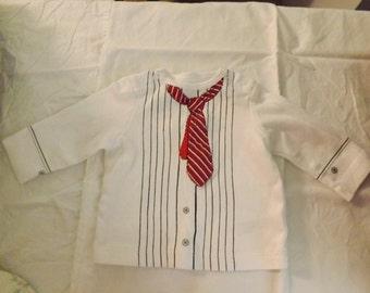 APPLIQUED TIE 3M Long-sleeve white shirt