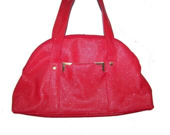 Handbag leather red Swarovski. hand made