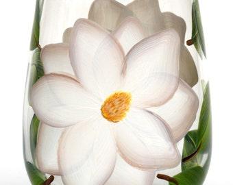 White Magnolias Stemless Wine Glass