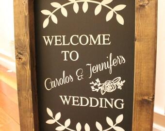 Welcome To (NAME) Wedding - Wedding Chalkboard Easel Sign Wedding Day Decor Wedding Sign Aisle Decor Calligraphy Rustic Sign Wedding Quote