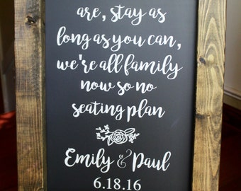 COME AS YOU - Chalkboard Sign - Stands Alone Chalkboard Easel - Customize