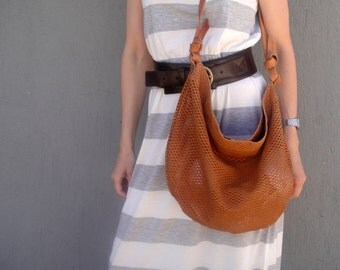 SALE: Handmade calf leather tote in tabac