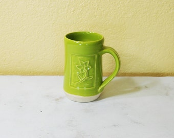 Sour Apple Green Mug, Flower Motif, Stoneware, Hand-Carved Details, Coffee, Hot Chocolate, Cup, Free Shipping
