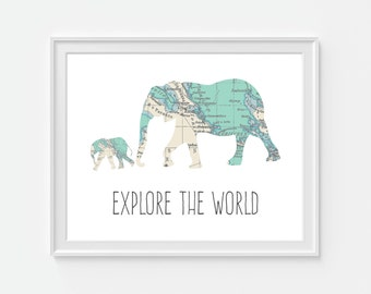 Elephant Nursery Art Print, World Map, Nursery Decor, Teal Nursery, Explore The World 5x7, 8X10, 11x14 Baby Nursery Wall Art, Nursery Map