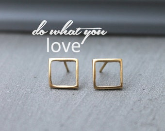 Stud Earrings Gold, Square gold studs, Minimalist earrings, gold geometric earrings, simple stud earrings