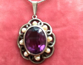 VICTORIAN STERLING NECKLACE Antique Victorian Pendant. Sterling Victorian Amethyst Necklace. Victorian Sterling Jewelry