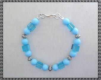 blue bracelet, light blue bracelet, turquoisel bracelet, Swarovski bracelet, swarovski