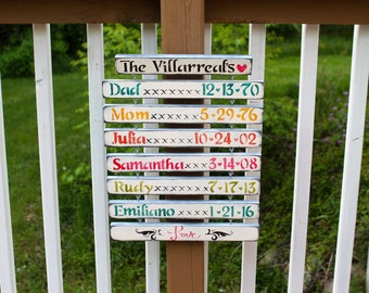 Grandkids birthday sign, with hooks for add ons later, Birthday reminder, Mothers day gift,Christmas gift, rustic wooden birthdate sign