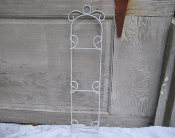 Vintage white vertical plate rack, holds 8 inch plates, metal plate rack, one of a kind, OOAK