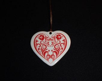 Ceramic Heart Ornament - Scandinavian Folk Art #572