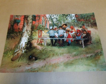 Breakfast Under the Big Birch or Yard & Wash house Print ~ Poster with Artwork by Swedish Artist Carl Larsson