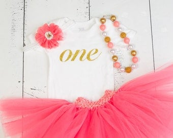 CORAL and GOLD Birthday Outfit, Girls 1st Birthday, First Birthday Outfit, 1st Birthday Outfit, Baby Girl Birthday Outfit, Cake Smash
