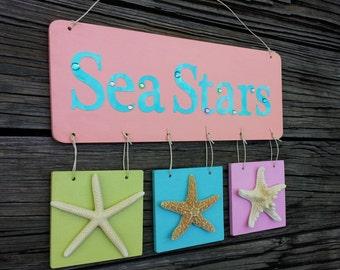 Beach Sign.  Starfish Beach Theme Decor.  Ocean Theme Home Decor.   Sea Stars Wooden Plaque.  Unique Handmade. Coastal Glam.  Sea Stars.