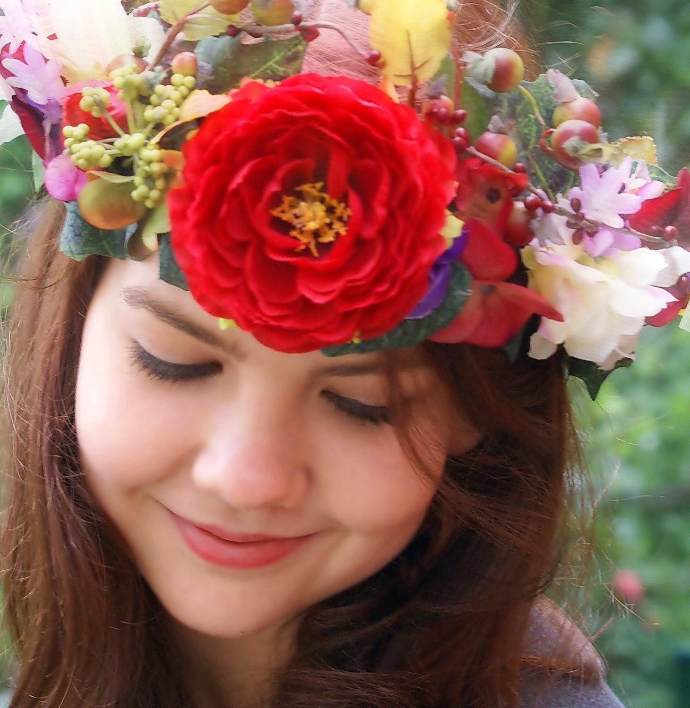 Red Autumn Flower Crown Baroque Style Wedding Crown Flower Headdress