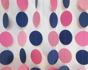 Party Paper Garland, Navy Blue & Pink, Party Decoration, All Occasion, Birthday Party, Baby Shower, 12' Circles