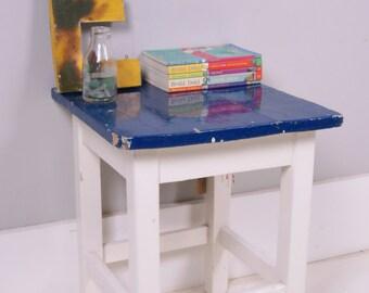 Children's Wooden Bedside Table with Dark Blue Top - Children's Furniture