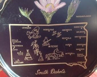 Vintage South Dakota metal souvenir tray