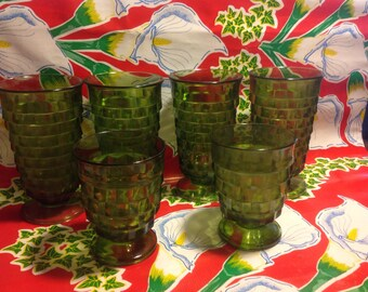 Vintage set of 4 tall and 2 short Fostoria American green glass tumblers