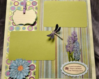 Premade Green/Lavender 12 x 12 x 1 Wall Canvas