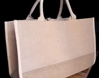 """Jute Tote Bag w/ Cotton & Jute Accents 17.5""""WX11.5""""HX8.5""""D"""