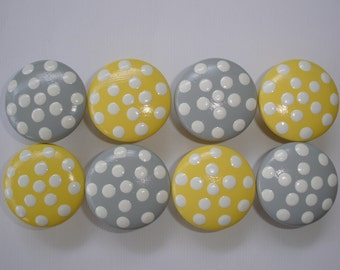 Set of 8 Hand Painted Yellow and Gray Knobs with White Polka Dots