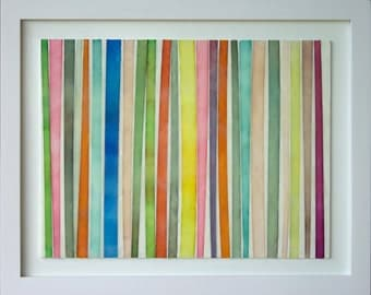 "Original Art by Gina Cochran - Encaustic Collage - ""Ribbons, No. 4"""