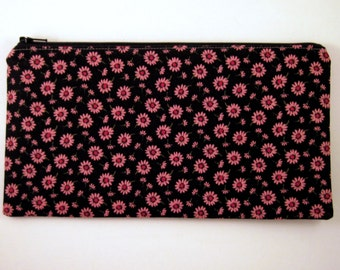Black Pink Flower Zipper Pouch, Gadget Bag, Make Up Bag, Pencil Pouch