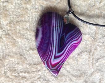 183-Purple-Heart Shaped Dragon Veins Agate, Purple Color Heart Agate Pendant Necklace, Purple Agate Pendant Necklace, Purple Agate