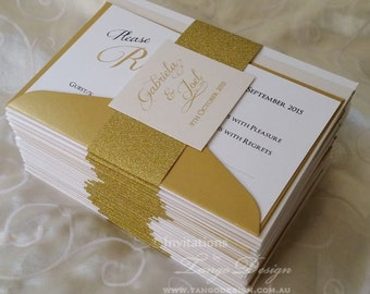 GLITTER wedding invitation suite. Gold wedding invitation. 25 gold glitter wedding invites. Elegant invitation Golden anniversary invitation