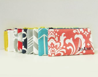 Set of 13 - Cosmetic Bag - Personalized Make up Pouch - Bridesmaid bags - Make up Organizer - Medium