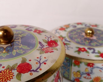 2 Matching DesignTea Buicuit Vintage Tins Floral with Birds Red Blue Gold
