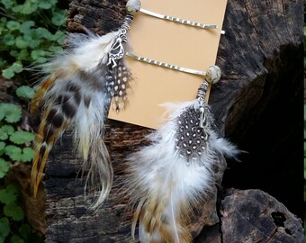 Hair Flair. Jasper stone, with  kokpelli and feathers, bob pins.