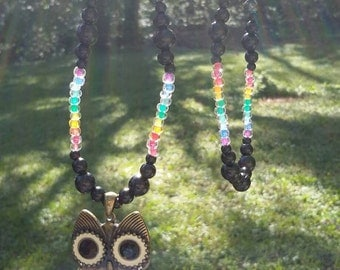 Gorgeous owl pendant necklace, with rainbow beads.