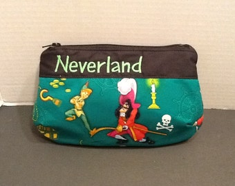 Personalized make up bag in 3 sizes made With Peter Pan and Captain Hook fabric  in your choice Of fabric