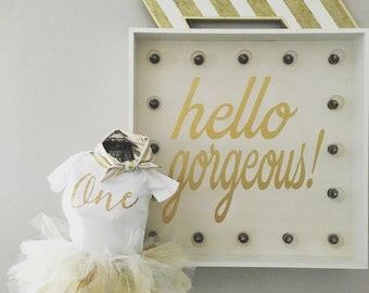 Gold Glitter and lace ONE tutu outfit first birthday cake smash party outfit