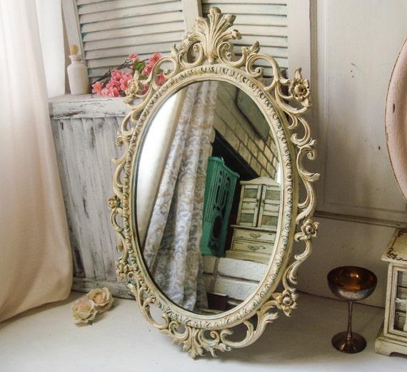Antique Cream Ornate Vintage Mirror Faux Patina Distressed