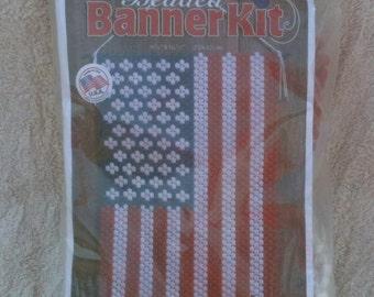 Beadery Craft Products Beaded Banner American Glory American Flag Patriotic Banner Old Glory Beading Deserdog Destash  b17