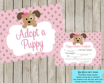 Adopt a puppy sign and certificate - pink