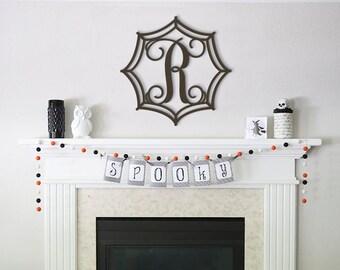 Spider Web Monogram, Wooden Initials, Halloween Decor, Fall Decorations, Door Hanger, Door Wreath, Wall Hanging Wooden Letters in Spider Web