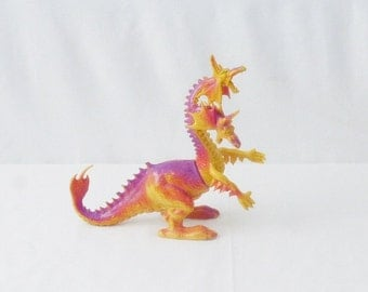 The Other World Double Headed Dragon Action Figure 1982 by ARCO Vintage Fantasy Knock Off Rubber Monster Toys