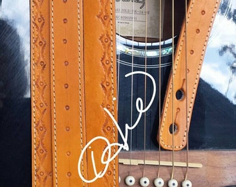 Hand Tooled Leather Guitar Strap... Acoustic Guitar, Electric Guitar , Bass Guitar Strap