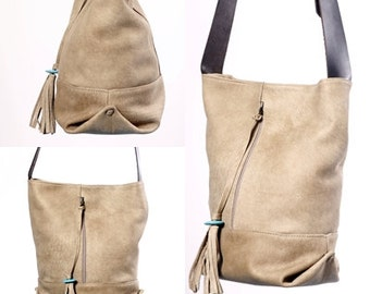 Beige Leather Tote, medium sized bag, shoulder bag, Large Handbag crosbody