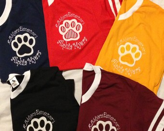 Monogrammed V-Neck Paw Print Jersey with Striped Sleeves - Various Colors