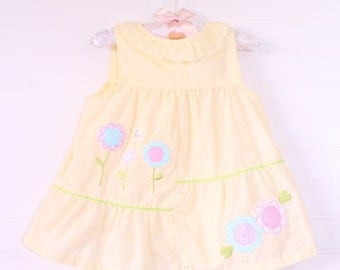 Vintage baby dress. Yellow eyelet dress , Little Bitty for 12 Mo