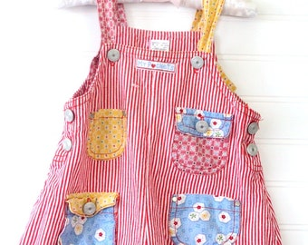 Reserved!!Vintage baby girl short overalls. Red stripe overalls detailed with pockets!! No name sz 24 mo