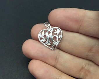 Vintage sterling silver heart shaped charm with 16 inside, solid 925 silver heart filigree pendant, stamped 925