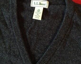 Men's Wool Vest LLBean, Made in Scotland, Charcoal grey XL